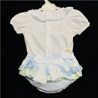 * Baby Girl Spanish Blue Floral Print Frilly Pants Set Frilly Collar Suit